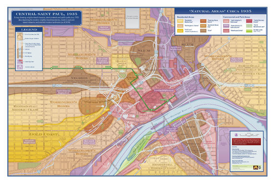 "This 1935 ""Natural Areas"" planning map of downtown St. Paul is just one example of how segregation has historically informed the city planning process. The map is overlaid with today's freeways and the Metro Green Line."