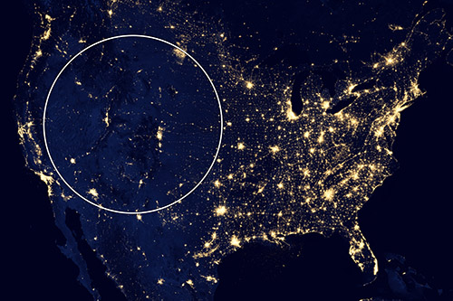 Aerial photo of the US by night. This photo was used by one of the conference presenters to illustrate the need for greater collaboration among the rural west, communities which are often even more isolated than other rural parts of the nation. Photo credit: NASA.